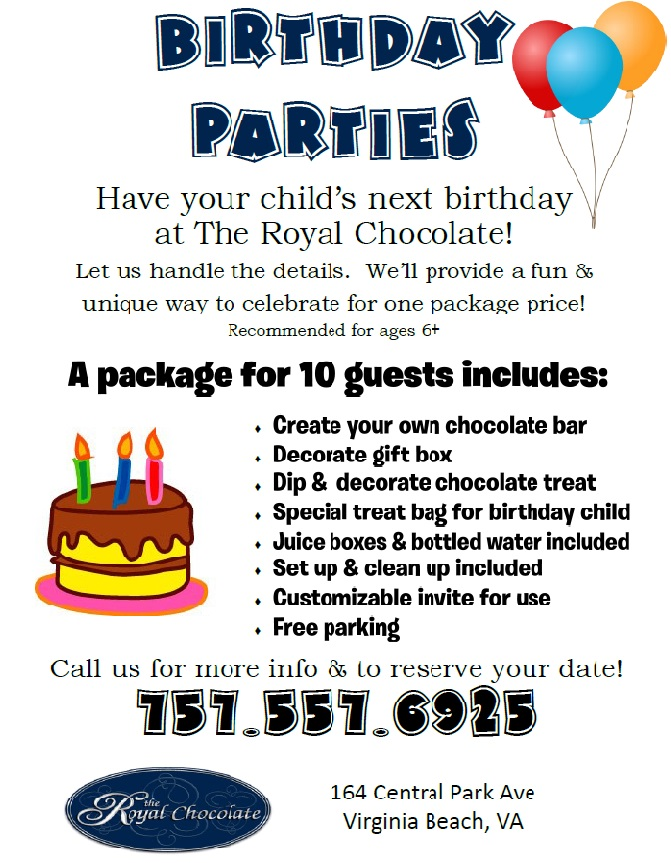 Childrens Birthday Parties At The Royal Chocolate
