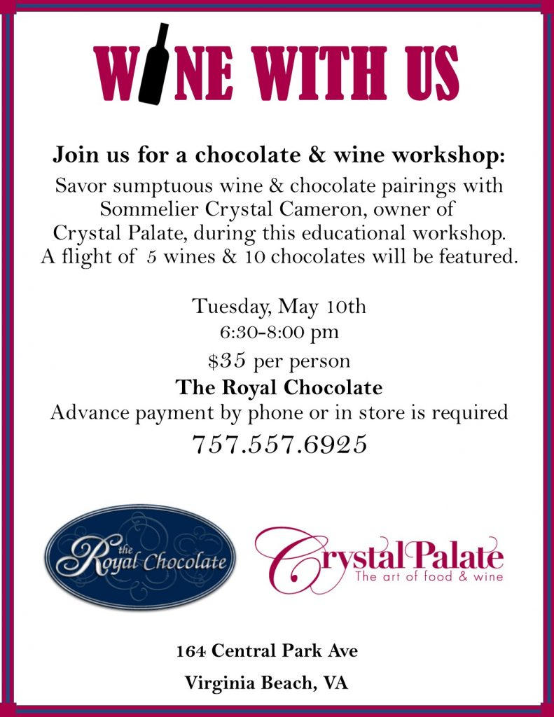 chocolate and wine tasting va beach