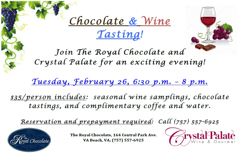 chocolate and wine tasting in Va Beach